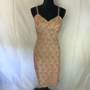 Vintage Pink Sheer Lace Nightgown Slip Chemise